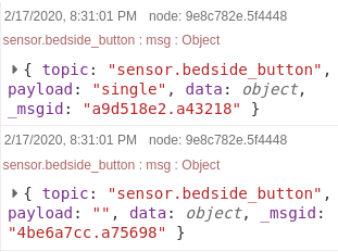 Screenshot of ESPHome button state logged in Node-RED